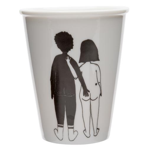 Black Man/ White Woman Couple Porcelain Cup