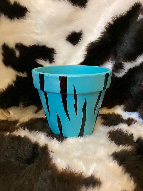 Tiger Print Plant Pot - Blue