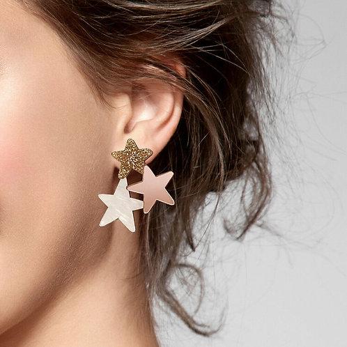 Star Earrings - Gold Glitter
