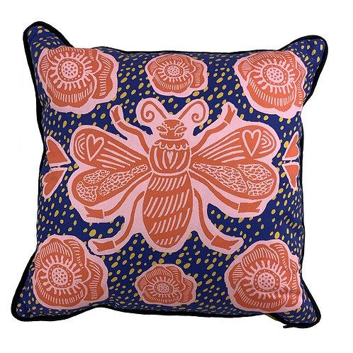 Bee Cushion Blue