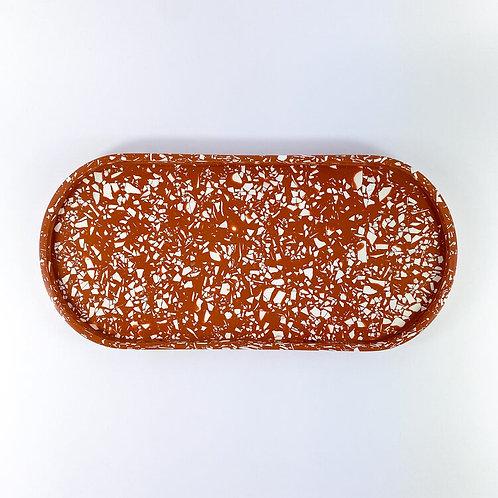 Terrazzo Oval Tray - Terracotta