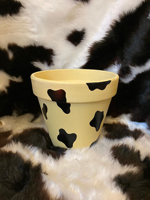 Cow Print Plant Pot - Yellow