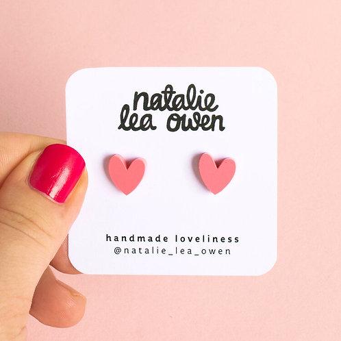 Heart Earrings - Blush Pink
