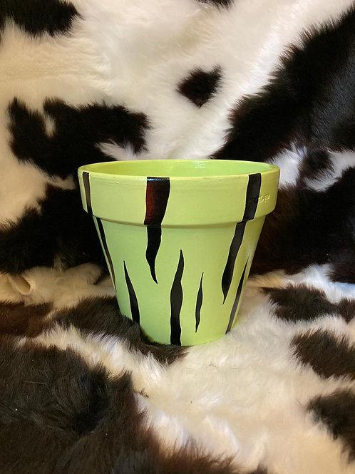 Tiger Print Plant Pot - Lime
