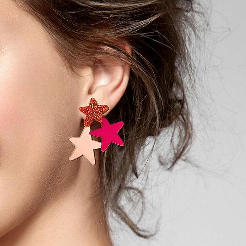 Star Earrings - Copper Glitter