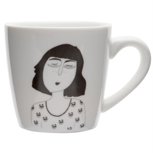 'First Coffee' Porcelain Mug