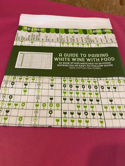 Guide to Pairing White Wine w/ Food Tea Towel