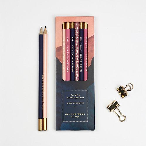 Rainbow - Set of 6 Wooden Pencils