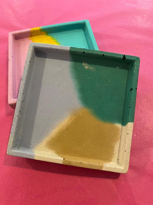 Concrete Square Tray- Olive, Lilac & Greem