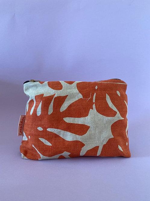 Natural & Orange Linen Pouch