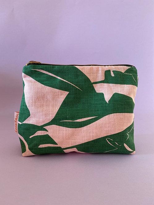Pink & Green Linen Pouch