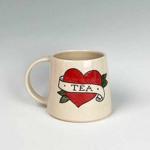 'Tea' Heart Tattoo Style Big Mug