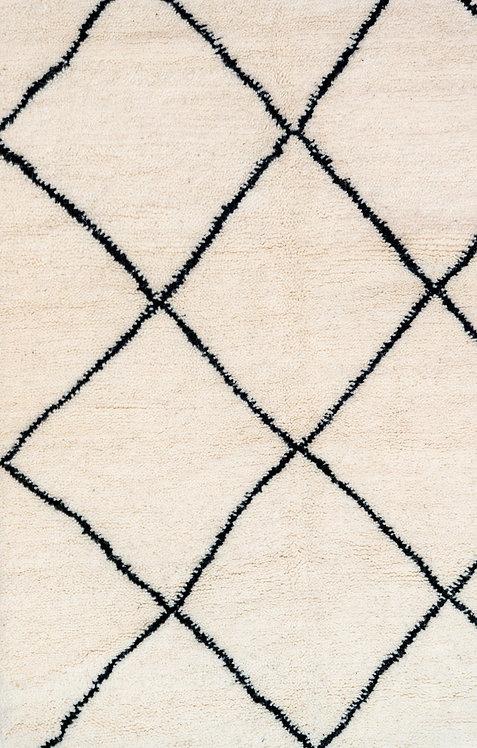 שטיח מרוקאי אותנטי מעוינים שחור