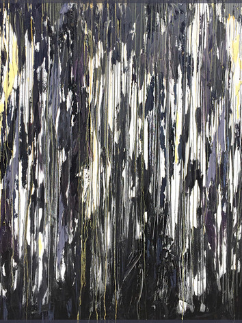"""""""graphite laced with subtle vanilla + hints of lavender"""" oil on canvas, 72x60in - $12,500"""