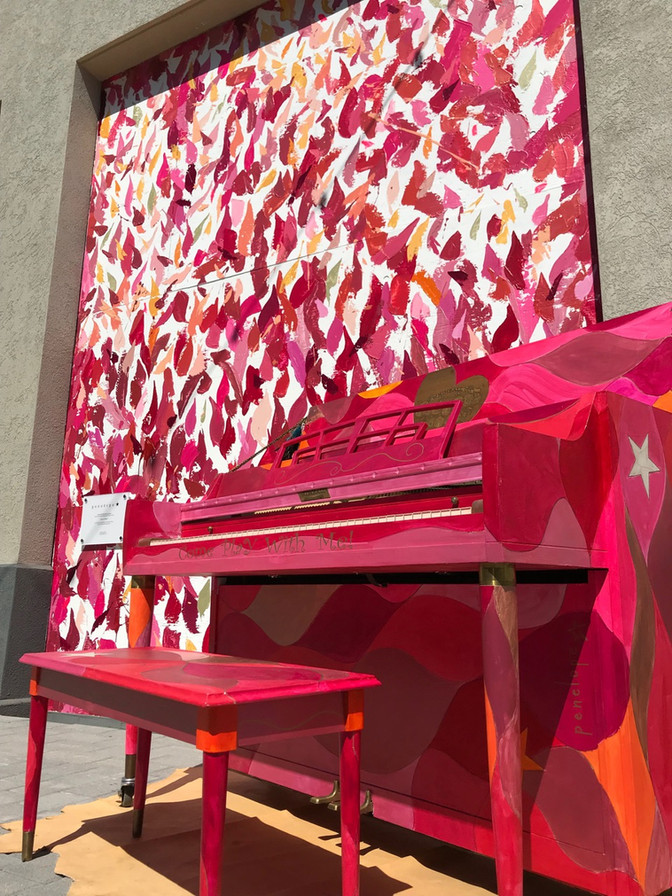 """Tones of Rosé"" Urban Mural + Street Piano :: A Contemporary Abstract Expression of Rosé"