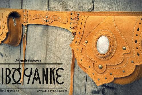Leather Uitlity Belt - Festival with MOONSTONE Handmade by Sibo Yanke. GEMSTONES