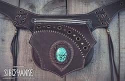 Leather Utility Belt+FESTIVAL+festival belt+Turquoise+Gemstone+SiboYanke