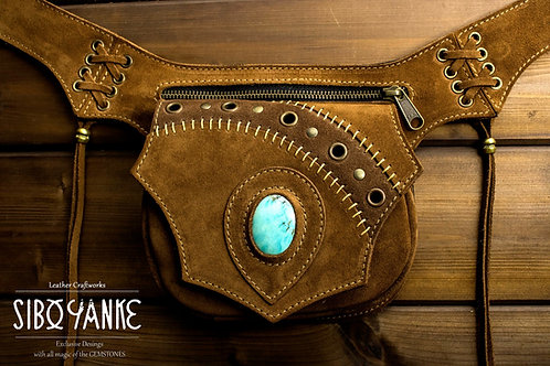 Leather+utility+belt+waist+bag+festival+hip+gemstones+turquoise