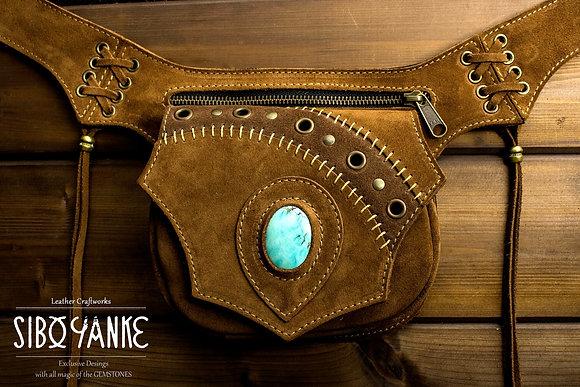 Leather+utility+belt+waist+bag+festival+hip+gemstones+turquoise