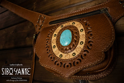 Leather Utility Belt - Festival Belt - Hip Belt -TURQUOISE
