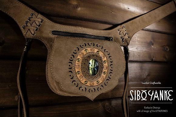 Leather Utility Belt - Festival Belt wirh LABRADORITE  Leather Hip Belt - Waist Bag-Hip Bag- Belt Bag