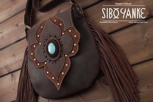 Leather Bag,Bohemian bag,Leather Boho Bag,Boho Chic,leather shoulder bag,Gemstones,boho purse,Leather Utility belt