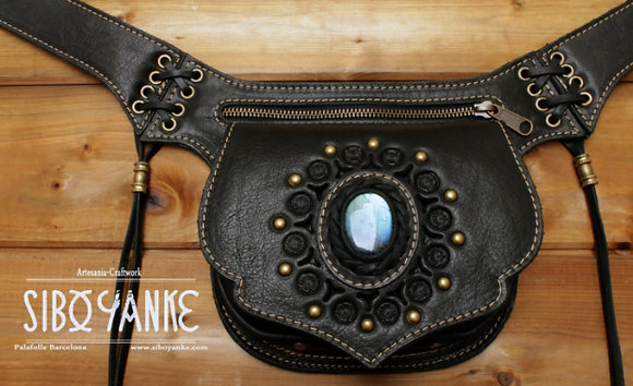 Leather Utility Belt - Festival Belt wirh TURQUOISE  Leather Hip Belt - Waist Bag-Hip Bag- Belt Bag
