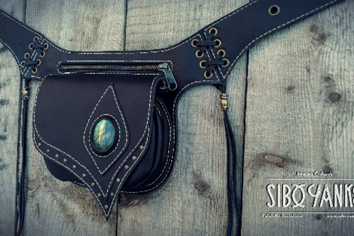 Leather Utility Belt - Festival Belt wirh LABRADORITE  Leather Hip Belt - Waist Bag-Hip Bag- Belt Bag