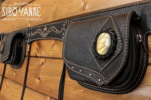 Leather Utility Belt, Festival Belt, Leather Hip Belt, Waist Bag, Belt Bag, Labradorite