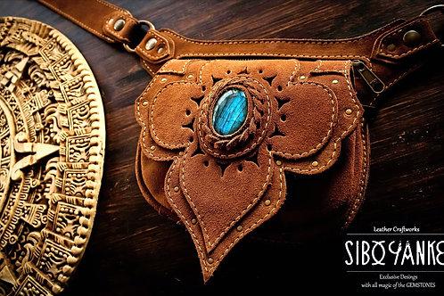 Leather Utility Belt - Festival -LABRADORITE - Suede Leather - Waist Bag