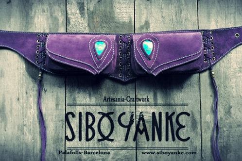Leather Utility Belt-Festival belt with Gemstones-Chrysocolla-by Sibo Yanke.