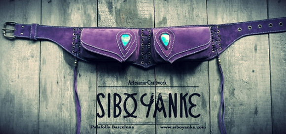 Leather Utility Belt-Festival belt with Gemstones-Chrysocolla-by Sibo Yanke.