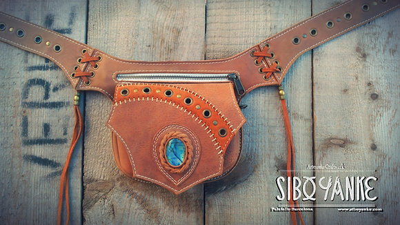 Leather Utility Belt, Hip Belt, Belt Bag, Boho Belt, Festival, Gypsy, Nomad, Boho, Hippie, Gemstones, Chrysocolla, Moonstone