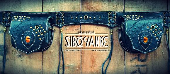 Leather Utiity Belt - Festival Belt with Tiger eye by Sibo Yanke HANDMADE
