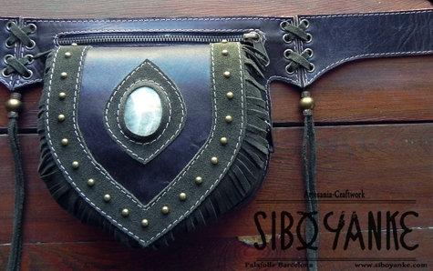 Leather Utility Belt, Hip Belt, Belt Bag, Boho Belt, Festival, Gypsy, Nomad, Boho, Hippie, Gemstones, Chrysocolla, Moonstone