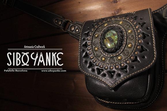 Leather Utility Belt - Festival Belt wirh TURQUOISE  Leather Hip Belt - Waist Bag-Hip Bag- Belt Bag