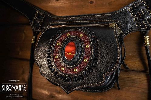 Leather Utility Belt - Festival Belt - Hip Belt - wAIST bAG - Hip Sack - Belt Bag RED MOKAITE