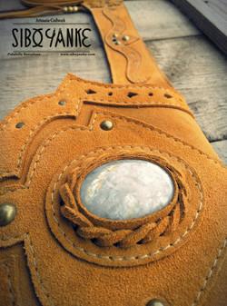 Leather Utility Belt FESTIVAL with Moonstone by Sibo Yanke Gemstones+E