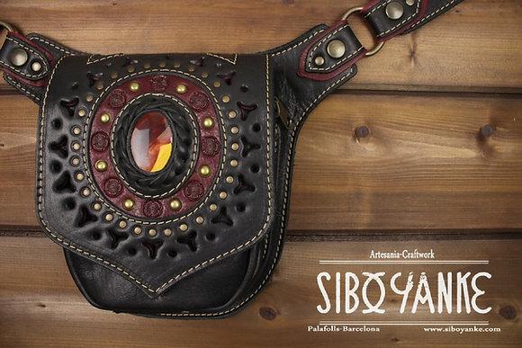 Leather Utility Belt - Festival Belt wirT MOKAITE  Leather Hip Belt - Waist Bag-Hip Bag- Belt Bag
