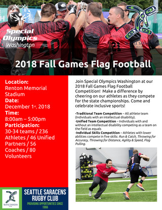Join Seattle Saracens in Supporting Special Olympics Washington's Flag Football Tournament