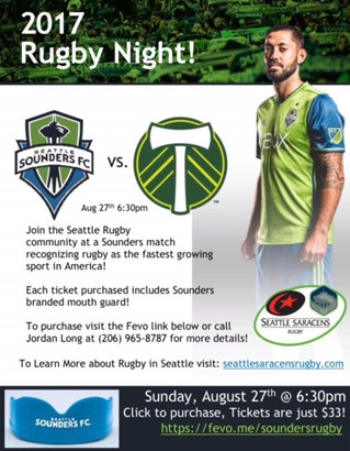 Seattle Sounders Rugby Night! Book Now!