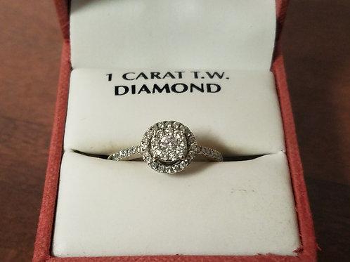 14KT  White Gold 1 CTW Diamond Ring