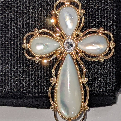 14KT Gold and Pearl like Inlay Cross