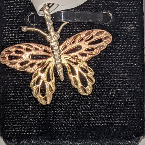 14kt Two-Tone Butterfly Pendant
