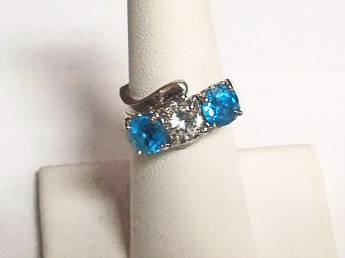 14KT Cluster W Blue and CZ Stones