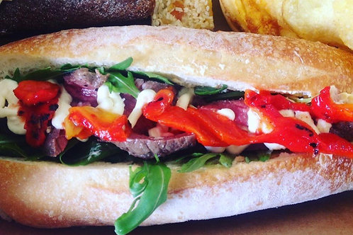 Filled roll - beef, capsicum, caramelised onion and feta