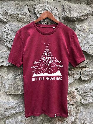 Pánské tričko Hit the mountains - vínové