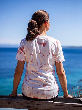 Dámské tričko batikované - růžové
