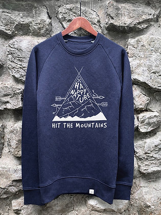 Pánský crewneck Hit the mountains - modrý