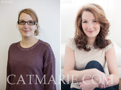 before and after make-up and hair